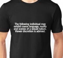 Viewer Discretion is Advised (white text) Unisex T-Shirt