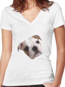 Bulldog Face Women's Fitted V-Neck T-Shirt