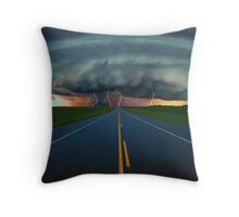 Massive Storm Cloud over Highway Throw Pillow