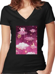 Catching Stars - Rondy the Elephant collecting bright stars Women's Fitted V-Neck T-Shirt