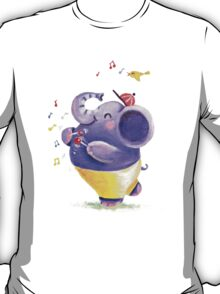Drummer - Rondy the Elephant using his belly like a drum T-Shirt
