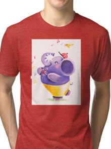 Drummer - Rondy the Elephant using his belly like a drum Tri-blend T-Shirt