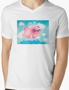 Elephant Out Of A Fly - Rondy the Elephant can fly Mens V-Neck T-Shirt