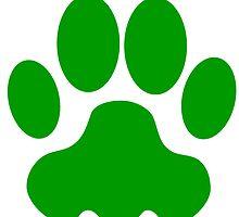 Green Big Cat Paw Print by kwg2200