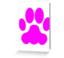 Pink Big Cat Paw Print Greeting Card