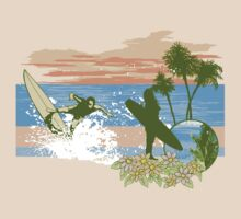 Vintage Retro Surfer T-shirt by retrorebirth