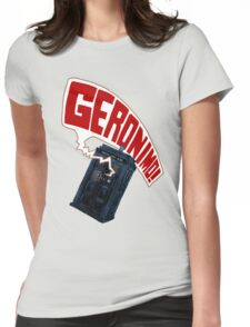 """""""Geronimo!"""" The 11th Doctor Womens Fitted T-Shirt"""