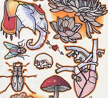 tattoo flash, elephant, anatomical heart, mushroom, beetle....circus colors by resonanteye
