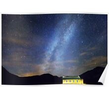 Classic Old Yellow School House Milky Way Sky Poster
