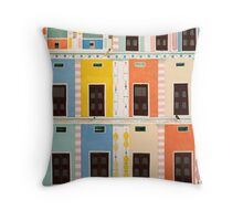 Bright Multicolored Building Throw Pillow