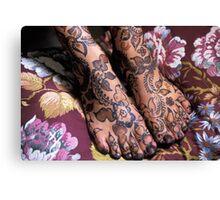 Womans Feet With Henna Canvas Print