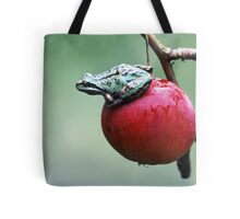 Pacific Tree Frog On A Crab Apple Tote Bag