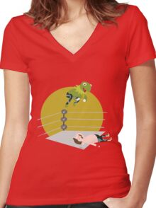 Kermit the Frogsplash Women's Fitted V-Neck T-Shirt