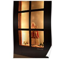 Little Antique Santa in the Window Poster