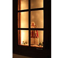 Little Antique Santa in the Window Photographic Print