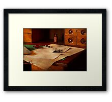 Lawyer - Optician - Reading the fine print  Framed Print