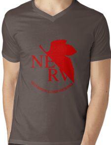 NERV Red Logo Mens V-Neck T-Shirt