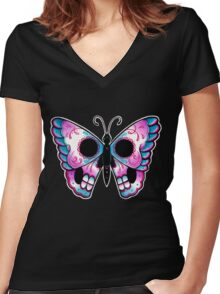 Sugar Skull Butterfly Tattoo Flash Women's Fitted V-Neck T-Shirt