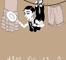 Buster Keaton Hello Neighbor! cartoon by anamenendezf
