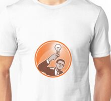 Businessman Holding Lightbulb Woodcut Unisex T-Shirt