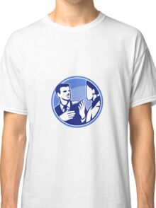 Office Worker Businessman Discussion Woodcut Classic T-Shirt
