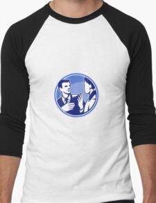 Office Worker Businessman Discussion Woodcut Men's Baseball ¾ T-Shirt