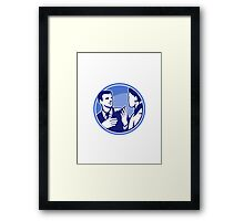Office Worker Businessman Discussion Woodcut Framed Print