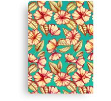 Rust & Teal Floral Pattern Canvas Print