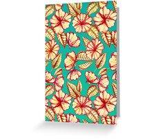 Rust & Teal Floral Pattern Greeting Card