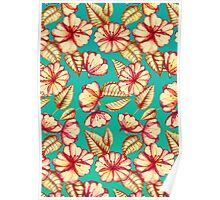 Rust & Teal Floral Pattern Poster