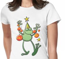 Christmas Decorations for a Frog Womens Fitted T-Shirt