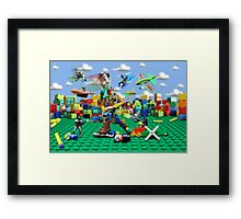 Woody vs the Little Guys Framed Print