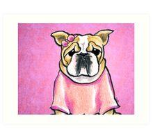 Pink Bow Bulldog Art Print