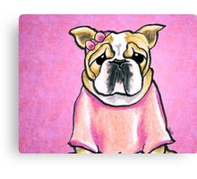 Pink Bow Bulldog Canvas Print