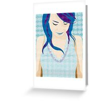 Asian Girl With Blue Hair Greeting Card