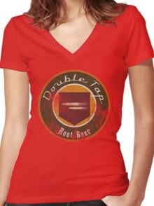 Double Tap Root Beer - Zombies Perk Emblem Women's Fitted V-Neck T-Shirt