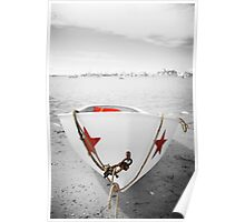 Black and White Photography With Color RowBoat Poster