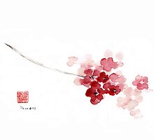 Original handmade cherry blossom pink flowers watercolor painting by Asia Szmerdt