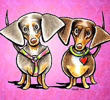 Dappled Dachshunds Pair Magenta by offleashart
