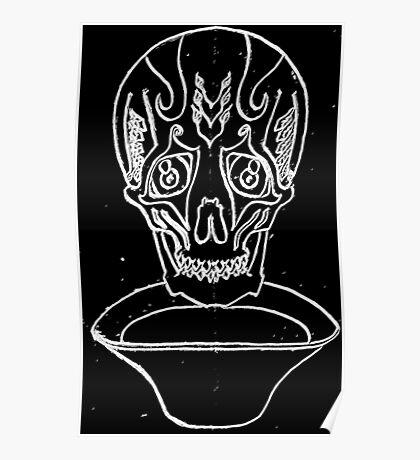 Sad skull in Black and white Poster