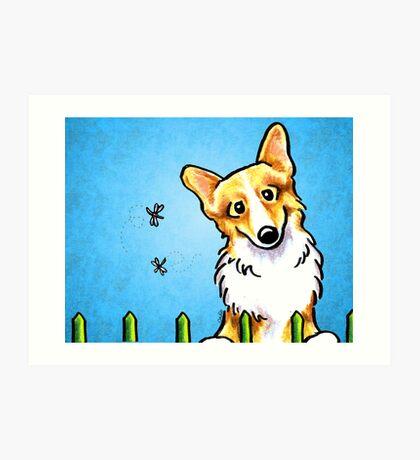 Corgi Fence Patrol Blue Art Print