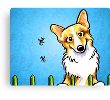Corgi Fence Patrol Blue Canvas Print