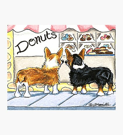 Corgis at the Donut Shop Photographic Print