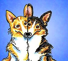 Corgis in Love Blue by offleashart