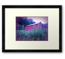 Red Barn and Iron Weed at Dusk Framed Print