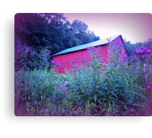 Red Barn and Iron Weed at Dusk Canvas Print