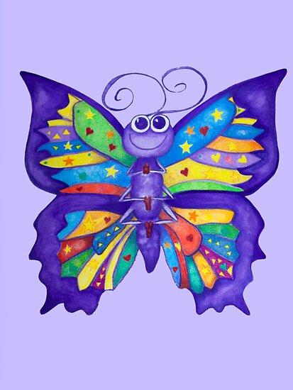 Yoga Butterfly in Namaste (purple background) by Monica Batiste