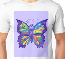 Yoga Butterfly in Namaste (purple background) Unisex T-Shirt