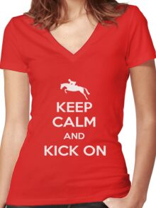 Keep Calm and Kick On Women's Fitted V-Neck T-Shirt