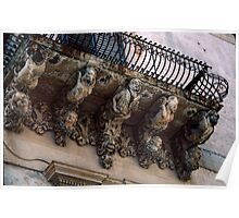 Balcony with people support brackets Noto Sicily 19840327 0033  Poster